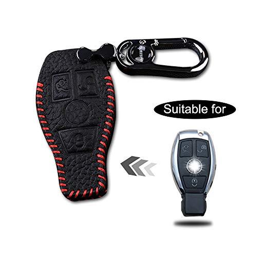 Carcasa Cuero para Llave Benz 3 Botones Llave Control Remoto Inteligente línea roja con Llaveros 1 PC Modelo C