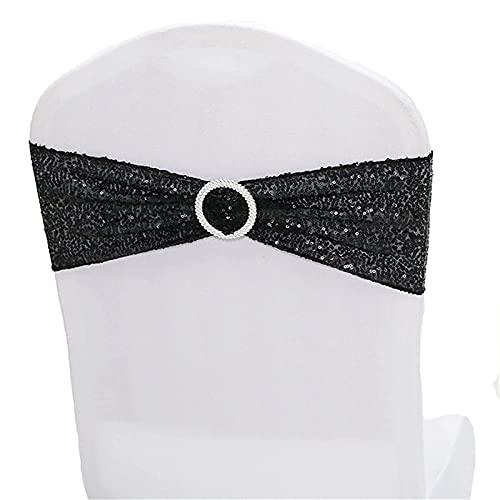 Fajas para sillas de lentejuelas, elásticas con lazos, bandas elásticas de licra para bodas, fiestas, recepciones, banquetes, sillas, decoración (negro, 20)