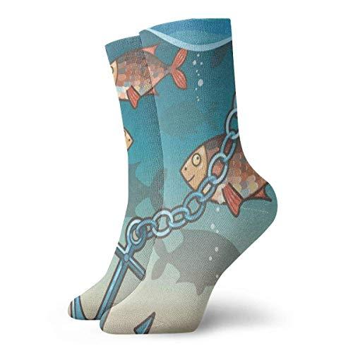 HNJZ-GS Calcetines de Equipo Anclas en el Agua Cerca de la Isla Tropical Maravilloso calcetín de Vacaciones para Mujeres Liquidación para niñas