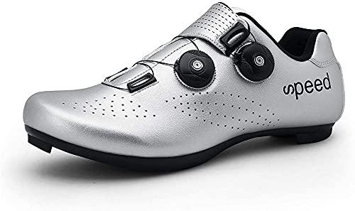 KUXUAN Zapatillas de Ciclismo Mujer Hombre Zapatillas de Ciclismo MTB Zapatillas de Ciclismo de Carretera SPD SPD-SL,Silver-46 EU