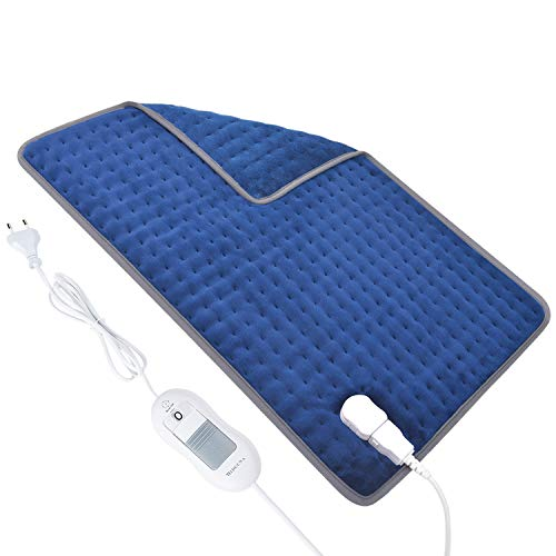 Cuscino Termico Termoforo Elettrico, 46 x 66 cm, 1.5 Ore Auto Spegnimento, 3 Temperatura Regolabile, Riscaldamento Rapido, Morbida Tessuto Lavabile, Blu