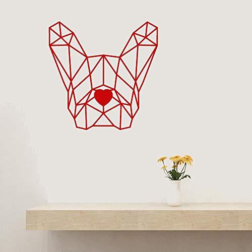 Kjlfow Calcomanía de Vinilo Poligonal geométrica para Pared, calcomanía de Pared de Bulldog francés para Mascotas, Pegatina de Pared para Sala de Estar, 57X57CM
