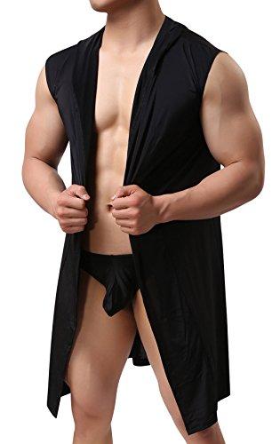 AIEOE - Kimono Albornoz sin Manga con Capucha de Playa Baño para Hombre Pijama Ropa de Dormir de Verano Ligero Fino - Negro - S