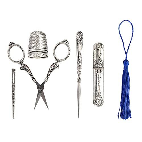 5 piezas de tijeras de coser vintage europeas, tijeras antiguas, tijeras de acero inoxidable para bordar, coser, el mejor regalo para los amantes del bricolaje