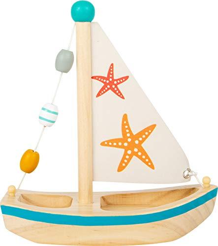 small foot 11658 Wasserspielzeug Segelboot Seestern aus Holz, Badespielzeug fürs Wasser, für Kinder ab 24 Monaten Spielzeug