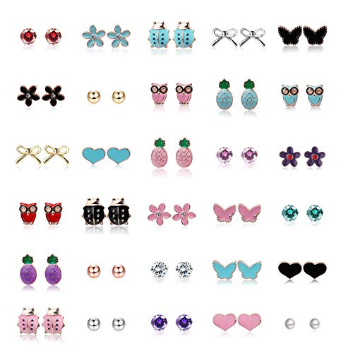 Yadoca 30 Pares Acero inoxidable Color Mezclado Pendientes para Niñas Mujeres Lindo Mariposa Nudo de Arco Piña Flor Mariquita Corazón Búho CZ Perla Aretes Set