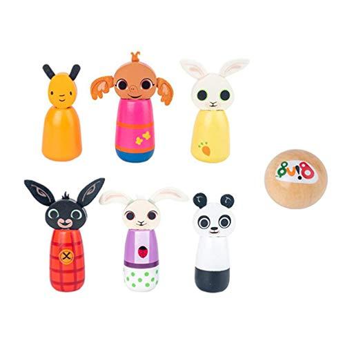 TOYANDONA 1 Juego de Bolos de Madera de Dibujos Animados para Niños Juego de Bolos Mini Animal Juego de Bolos Juguete Deportivo Desarrollo Infantil Juegos Regalos