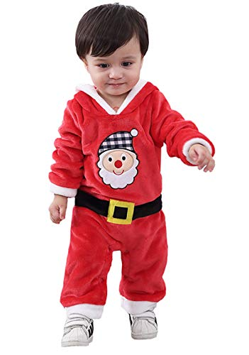 Happy Cherry - Mono Bodies para Bebés Unisex Disfraces de Navidad Lindo para Bebés Peleles Pijama Entero de Franela - 9-12 Meses