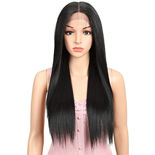 "JOEDIR 26"" Long Straight Free Parting Silk Base Lace Frontal Wigs With Baby Hair High Temperature Synthetic Wigs For Black Women 180% Density Ombre Color Wigs 250g(1B)"