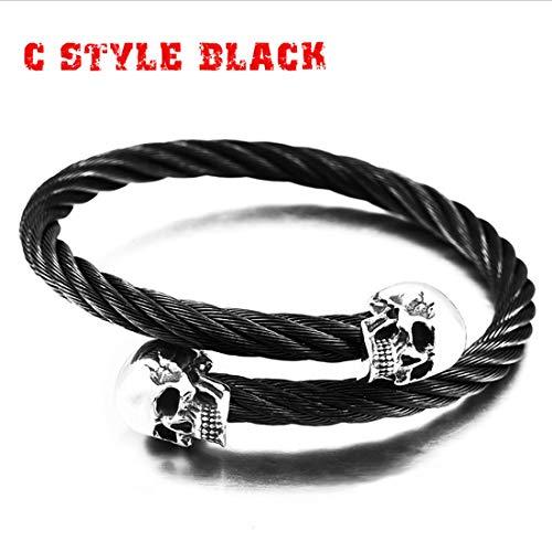 WANZIJING Punk-Armbänder, Wikinger-Gotik-Armbänder, Totenkopf-Armband schwarz Edelstahl Kabel Draht Manschette Armreif