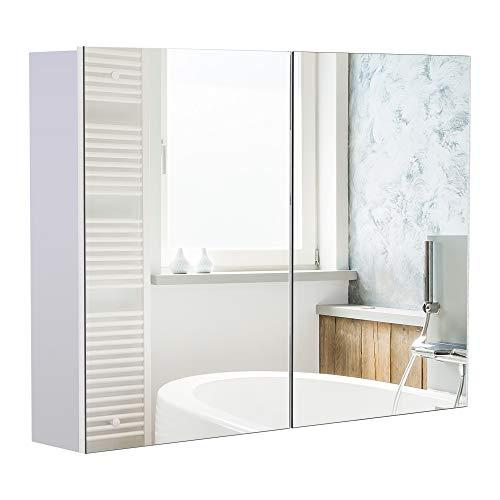 HOMCOM Armario de Baño con Espejo Armario de Pared 2 Puertas con 3 Estantes Interiores Estilo Moderno para Dormitorio Salón 80x15x60 cm Blanco
