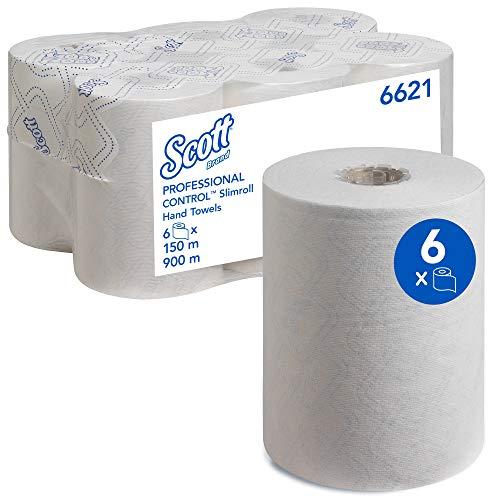 Scott Control Slimroll 6621 Toallas secamanos en rollo, 1 capa, Blanco, 6 rollos x 150 m