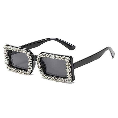Gafas De Sol Gafas De Sol Cuadradas con Diamantes para Mujer, Montura Pequeña, Gafas De Sol con Diamantes De Imitación A La Moda, Gafas De Cristal para Mujer, Uv400 C1, Negro-Negro