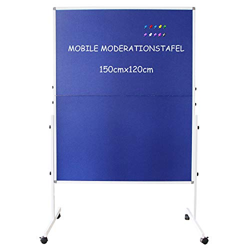 XIWODE Moderationstafel, mobiles Pinnwand,150x120cm,Double Sided Blue Fabric Bulletin Push Pin Board Rolling with Stand