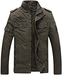 L'monte Imported Jacket for Men Winter Camouflage Military Design Army Style Cotton Casual Slim Fit Stand Collar Coat Latest Fashion (8333 Green)
