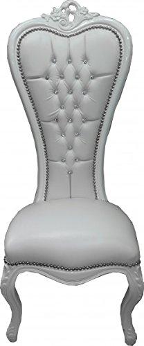 Casa Padrino Barroco Silla Trono de la Reina Anne Weiß con Aspecto de Cuero/Blanco con el Bling Bling de Diamantes de imitación - Alta sillón