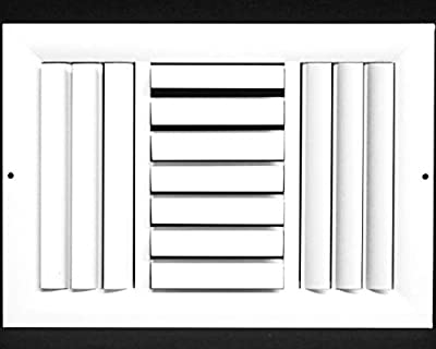 3-Way Aluminum Curved Blade Adjustable Air Supply HVAC Diffuser - Full Control Vertical/Horizontal Airflow Direction - Vent Duct Cover