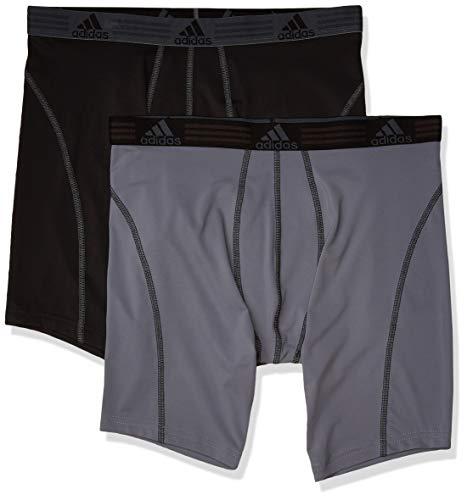 adidas Men's Sport Performance Midway Underwear (2-Pack), Black/Thunder Thunder/Black, LARGE
