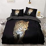 NEWAT Juego de ropa de cama con estampado de leopardo 3D, funda de edredón con cremallera (140 x 210 cm)