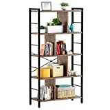 Armocity Bookshelf, 5 Tier Tall Industrial Bookcase Wood Metal Frame Standing Book Shelf, Display Bookshelves Storage Organizer for Bedroom Living Room Home Office, Rustic Brown