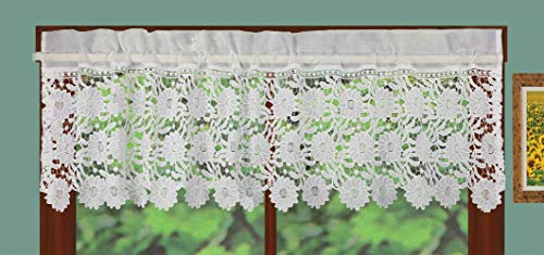Creative Linens Sunflower Knitted Lace Kitchen Curtain Window Valance 1PC