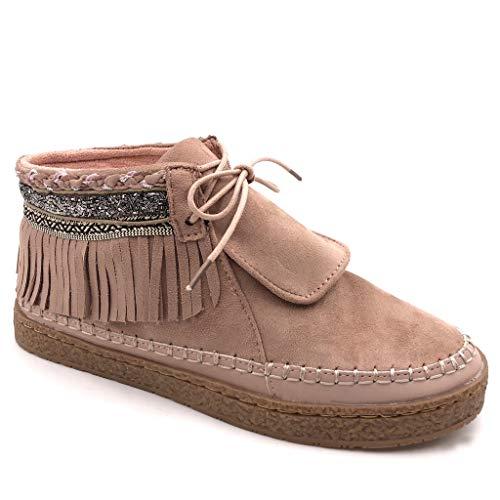 Angkorly - Damen Schuhe Stiefeletten - Mokassin Stiefel - Folk - Fransen - Fantasy - Bestickt Flache Ferse 2 cm - Rosa M862 T 40