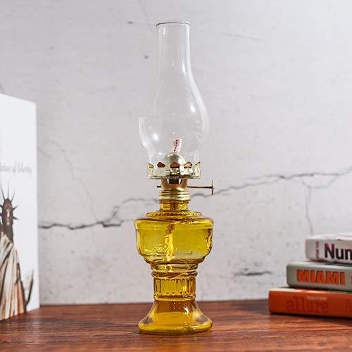 KMYX 80's Retro Ornamentos Vintage Aceite Lámpara de keroseno Lámpara de Cristal Caballo Linterna Alcohol Lámpara Retro Luz de Emergencia para el hogar Luz Larga para Buda (Color : Yellow)