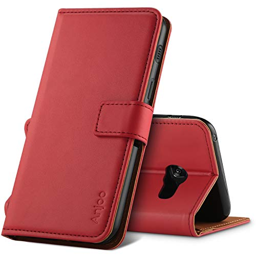 Anjoo Hülle Kompatibel für Samsung Galaxy A5 2017, Tasche Leder Flip Hülle Brieftasche Etui Handyhülle mit Kartenfach & Ständer Kompatibel für Samsung Galaxy A5 2017,Rot