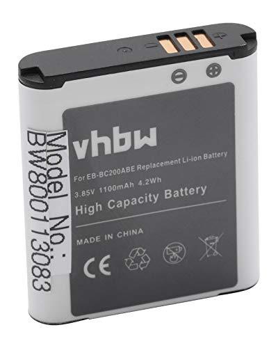 vhbw Li-Ion Akku 1100mAh (3.85V) für Kamera Camcorder Video Samsung Gear 360, SM-C200 wie EB-BC200ABE, EB-BC200ABK, GH43-04604A.