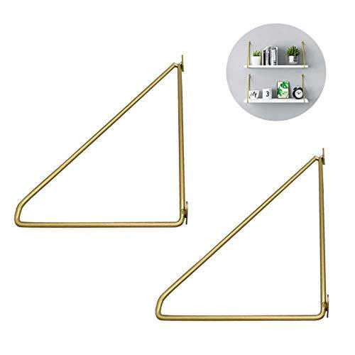 Yuany plankhouders 2 x goud driehoekige floating 150 mm krachtige wandplank hoekbeugels metaal DIY houder steun boeken opslag