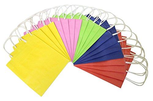 folia 21209 - Papiertüten aus Kraftpapier, Geschenktüten, 20 Stück, ca. 12 x 5,5 x 15 cm, farbig sortiert - zum Basteln, Verzieren und Verschenken