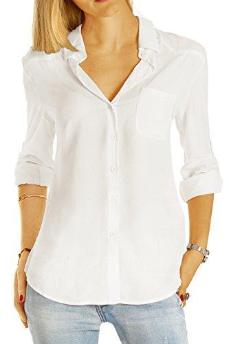 bestyledberlin Damen Blusen, Klassische Damenblusen, Halbtransparente Basic Hemden t51z XL weiß