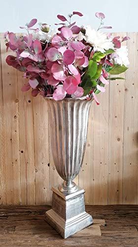 MichaelNoll Vase Blumenvase Pokalvase - Dekovase Groß aus Aluminium Metall Silber - Bodenvase für Kunstblumen und Pampasgras - 68 cm / 75 cm (28x28x68 cm)