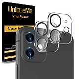 [2 Stück] UnqiueMe Kameraschutz Kompatibel mit iPhone 11 (6.1 Zoll)/iPhone 12 mini(5.4 Zoll)Panzerglas Kamera, [Anti- Kratzer], [Bläschenfrei],[Einfache Installation]-Schwarzer Kreis