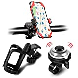 3 Pack Bike Water Bottle Holder, Silicone Phone Holder Secure, Aluminum Bike Bell, 360° Cup Holder Bottle Cage for Bike Motorcycle Stroller, Phone Mount Any Smart Phone, Bicycle Bell, Bike Accessories