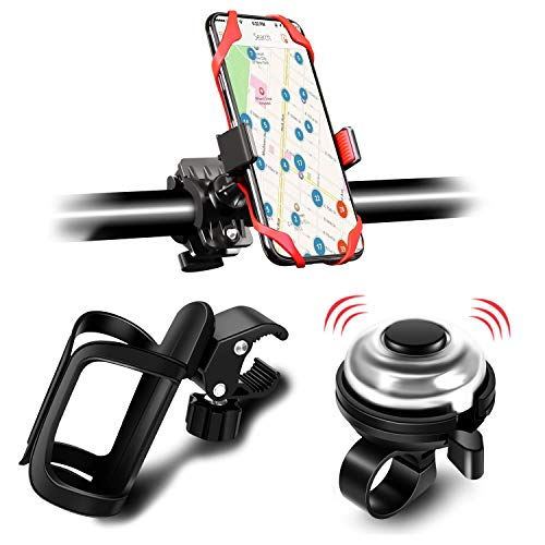 3 Pack Bike Water Bottle Holder Silicone Phone Holder Secure Aluminum Bike Bell 360° Cup Holder Bottle Cage for Bike Motorcycle Stroller Phone Mount Any Smart Phone Bicycle Bell Bike Accessories