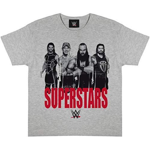WWE Superstars Jungen-T-Shirt Heather Grey 9-10 Jahre | Alter 5-14 Kinderkleidung, Ringen John Cena Braun Strowman Roman Reigns Seth Rollins Kids Top
