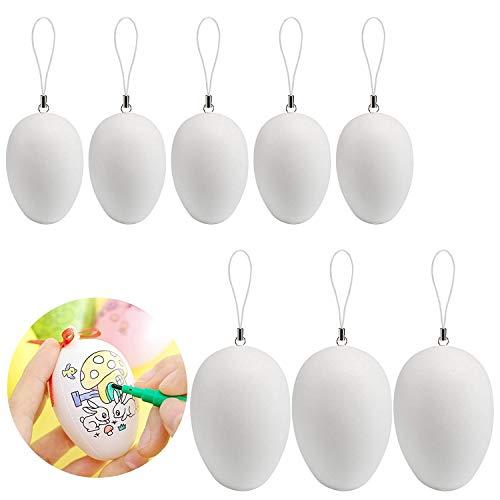 Naler 50 Pezzi di plastica Bianco Uovo di Pasqua con Corda appesa Loop String per Bambini Regalo Giocattolo di Pasqua casa Decorazione del Partito Fai da Te