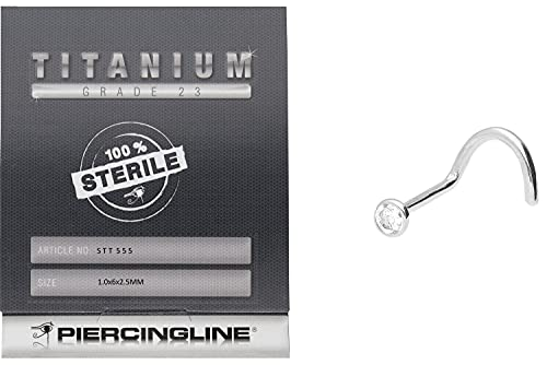 PIERCINGLINE Titan Nasenpiercing | STERIL | FLACHE KRISTALL DISC | Piercing Nase Stecker Spirale