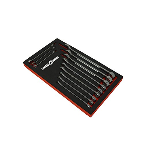 Garage Ready Wrench Organizer Tray - Holds 12 SAE or Metric Combination or Gear Wrenches (Black/Red)