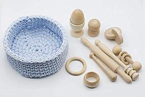Cesto tesoros Montessori 10 piezas madera, Regalo bebé original