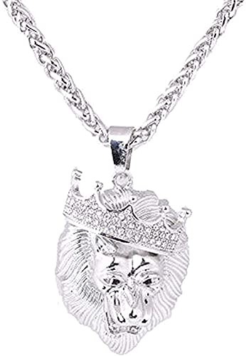 LBBYLFFF Collar Collares de Moda Diamantes de imitación Helados llenos Una Corona Etiqueta de león Collares y Colgantes Cadena Cubana Hip Hop Collar de Hip Hop Joyas de Oro para Hombres