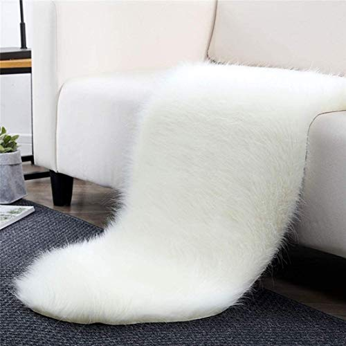 Fluffy Faux Fur Sheepskin Rug Chair Cover Seat Pad Home Carpet Floor Mat For Bedroom, Sofa, Living Room (Color : Ivory White)