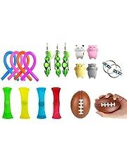 Sensory Fidget leksaks-set [18-pack] bunt sensoriska leksaker set - Mochi-leksaker/squeeze-a-Bean/Squeeze Ball/Stretchiga strängar/cykelkedja/Nät marmor