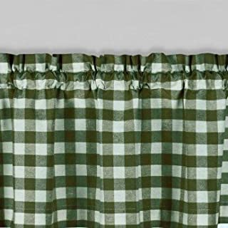 lovemyfabric Poly Cotton Gingham Checkered Plaid Design Kitchen Curtain Valance Window Treatment-Hunter Green