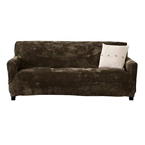 Velvet Plush Stretch Sofa Slipcover. Velvet Sofa Couch Furniture Protector, Soft Anti-Slip, High Stretch for 3 Seat Sofa. (Sofa- 3 Seater, Walnut Brown)