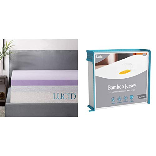 LUCID 3 Inch Lavender Infused Memory Foam Mattress Topper - Full Size & Premium Rayon from Bamboo Jersey Mattress Protector - Ultra Soft - Waterproof - Dust Mite Proof - Hypoallergenic - Full
