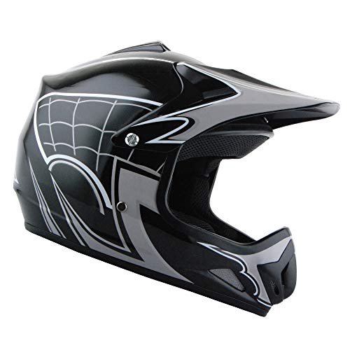 WOW Youth Kids Motocross BMX MX ATV Dirt Bike Helmet Spider Web Black