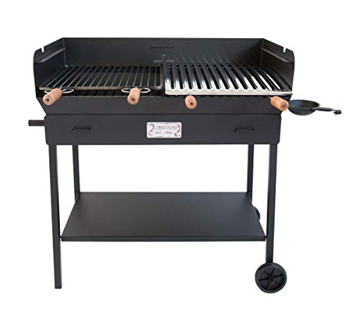 CRUCCOLINI Party Barbecue a Carbone e Legna, Nero, 94x54x92 cm