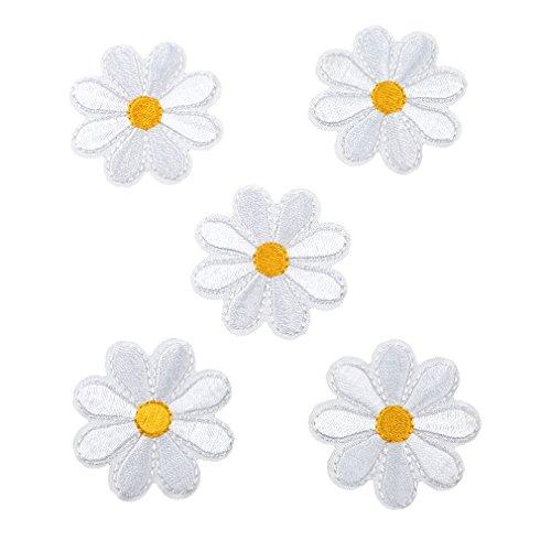 HENGSONG 5 Stück Blumen Aufnäher Stickerei Applikationen Set Patches Zum Aufbügeln für T-Shirt Jeans Kleidung Taschen Hut Dekor (Weiß)